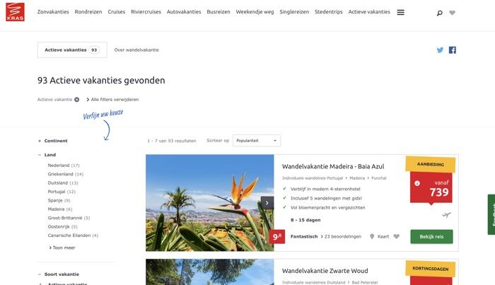 kras wandelvakanties website