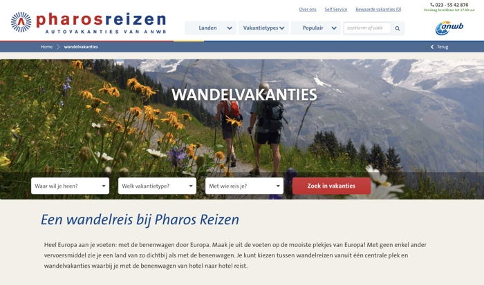pharos wandelvakanties website