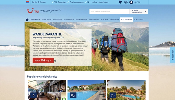 TUI wandelvakanties website