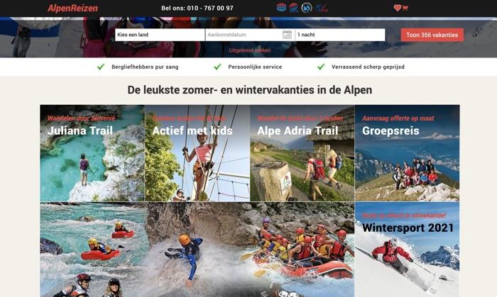 alpenreizen.nl website
