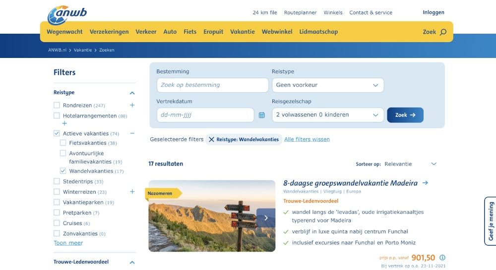 ANWB Wandelvakantie website
